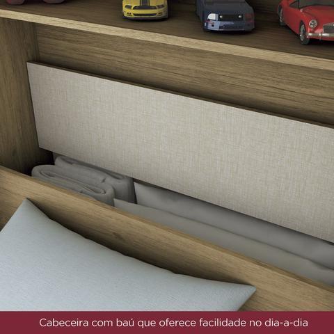 Imagem de Guarda Roupa Solteiro 4 Portas com Espelho e Cama Baú Happy Espresso Móveis Rústico