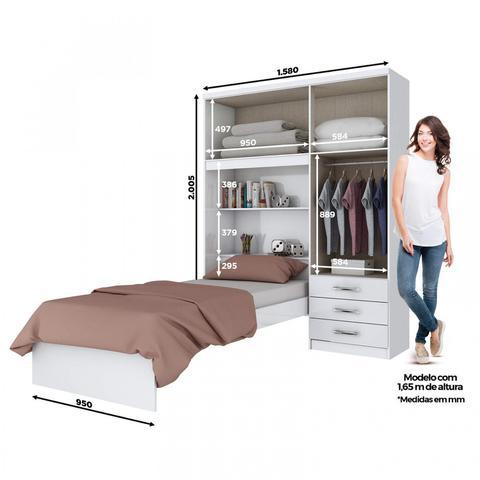 Imagem de Guarda Roupa Solteiro 4 Portas com Espelho e Cama Baú Happy Siena Móveis Siena Móveis Branco Rosa