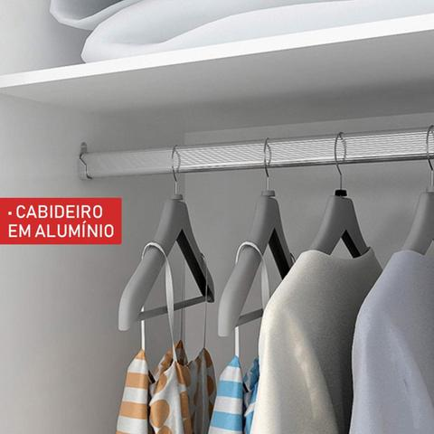 Imagem de Guarda Roupa Solteiro com Espelho 2 Porta de Correr Cléo Siena Móveis Branco