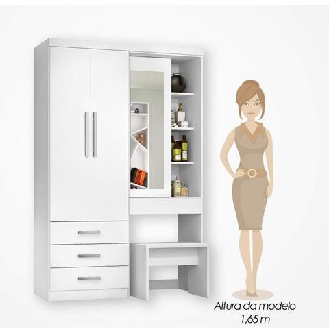 Imagem de Guarda Roupa Solteiro com Espelho 3 Portas 4 Gavetas sem Banco J&A Móveis Branco