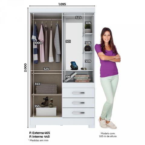 Imagem de Guarda Roupa Solteiro com Espelho Penteadeira 2 Portas 3 Gavetas Azura Siena Móveis Branco