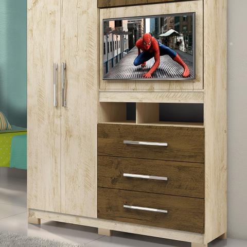 Imagem de Guarda Roupa Solteiro Com Painel Giratório Para TV De Até 32 Polegadas Viena