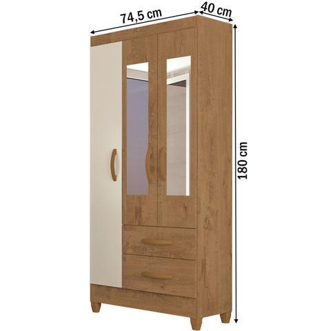 Imagem de Guarda-roupa Solteiro Real 3 Portas 2 Gavetas Com Espelho Canelato Rústico/natura Off White