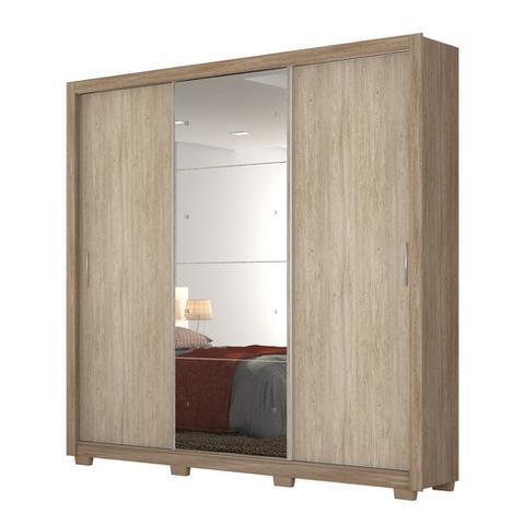 Imagem de Guarda Roupas 3 Portas de Correr com Espelho c/ Pés Residence II Demóbile Nogal/Vanilla