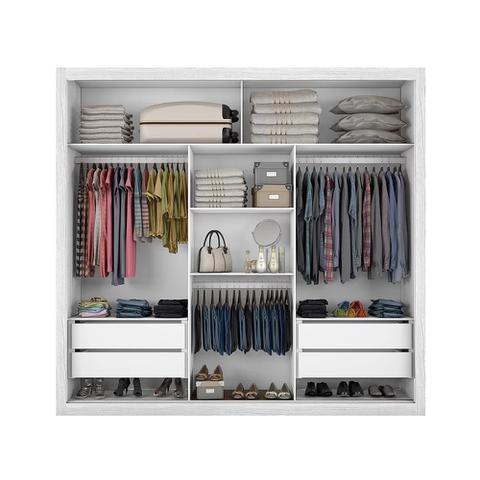 Imagem de Guarda-roupas Bahia 3 Portas e 4 Gavetas com Espelho Branco