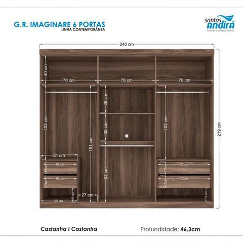 Imagem de Guarda-Roupas Casal Imaginare 6 Portas Santos Andirá