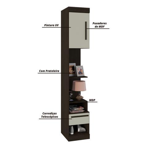Imagem de Guarda Roupas Casal Modulado Completo 5 Portas Star Amêndoa / Off White