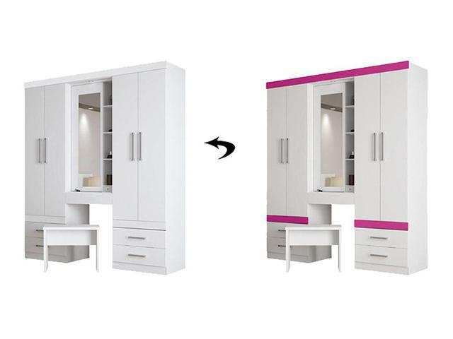 Imagem de Guarda-Roupas Penteadeira Santos Andirá Plus 5.5 com espelho 5 portas e 5 gavetas - Branco