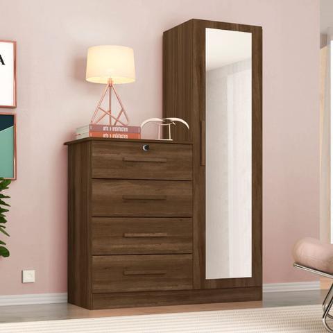 Imagem de Guarda Roupas Solteiro com 1 Porta com Cômoda 4 Gavetas e Espelho Belize Plus Cedro