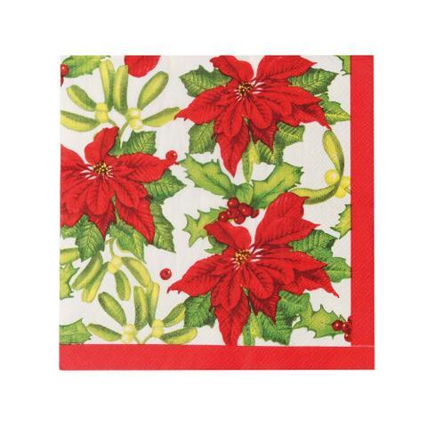 Imagem de Guardanapo De Papel Mesa Natal Poinsettia 20 Pçs Vermelha