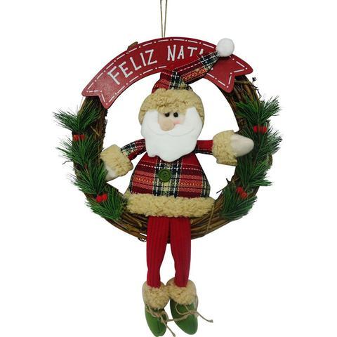 Imagem de Guirlanda papai noel feliz natal quebec 30cm - niazitex