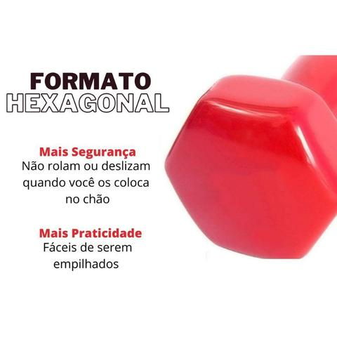 Imagem de Halter Sextavado Emborrachado 3kg Peso Musculação Bravus Sport