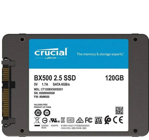Imagem de HD SSD / Crucial / CT120BX500SSD1 / 2,5 / Sata 3 / 120 GB