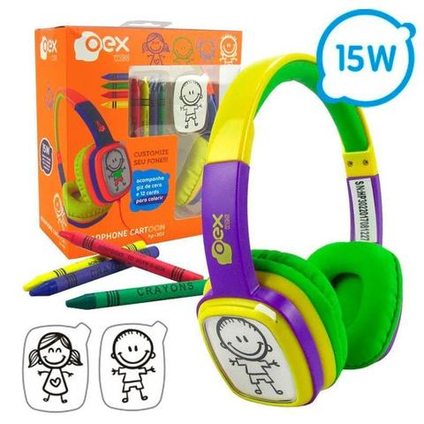 Fone de Ouvido Headphone Kids Cartoom Verde Oex Hp-302