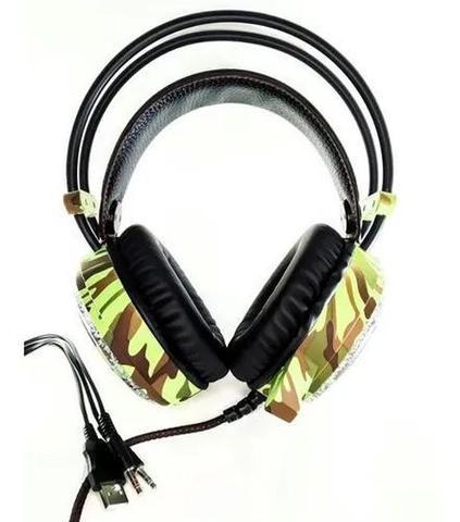 Imagem de Headset Fone De Ouvido Com Microfone Camuflado Led