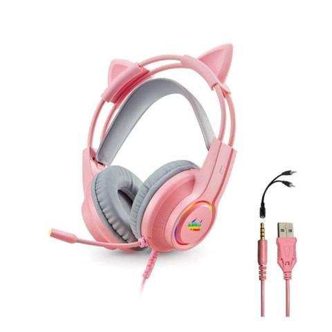 Imagem de Headset fone gamer com microfone e led p3/p2 - kp-ga04 rosa