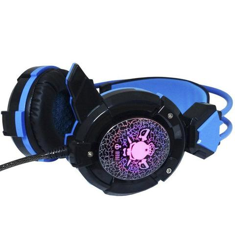 Imagem de Headset Gamer Fone Ouvido com Microfone Usb P2 Led Pc Jogos Infokit GH-X30 XSoldado Preto Azul