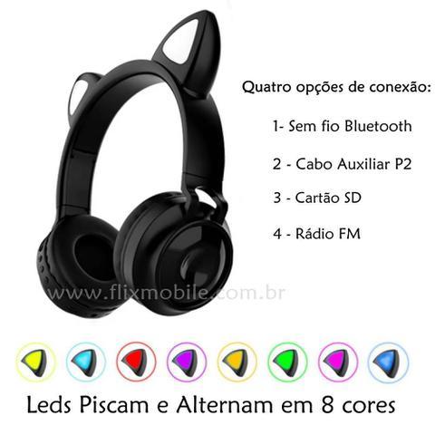 Imagem de Headset Orelha de Gato Fone Sem fio com Microfone Cartão SD FM LEDs Coloridos Preto