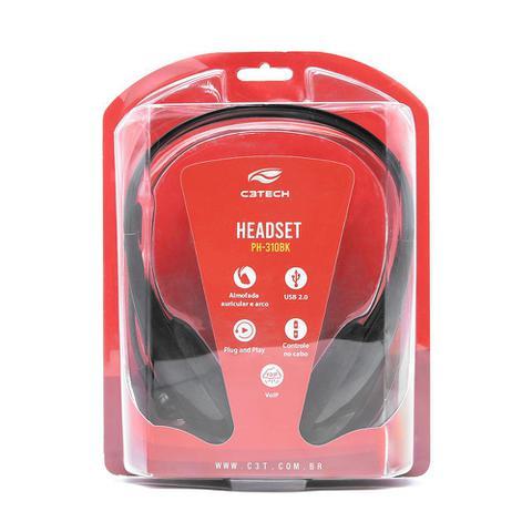 Imagem de Headset USB 2.0 com microfone C3Tech  Plug and Play PH-310BK