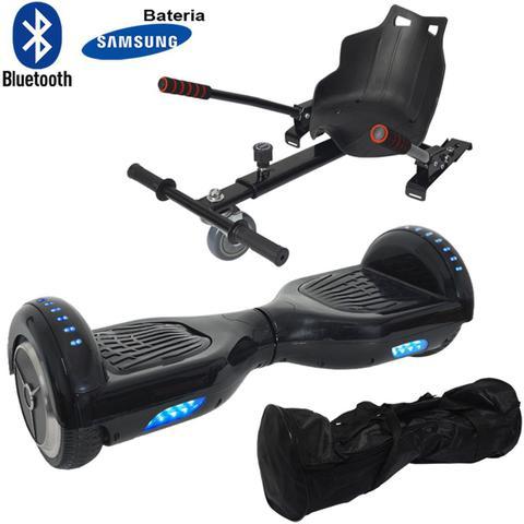 Imagem de Hoverboard 2 Rodas 6,5 Polegadas + Carrinho Assento Hoverkart Bluetooth BW009-058 Preto Bolsa