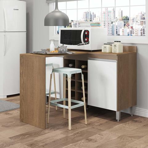 Imagem de Ilha Balcão Bancada de Cozinha Sabrina 02 Portas e Adega 120x82x137 Avelã/Branco TX 0465 - MENU