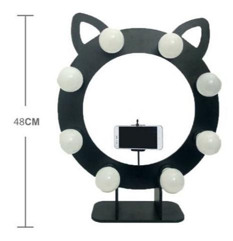 Imagem de Iluminador Grande 42 CM Preto 8 Bocais Gatinho Ring light Make Estudio
