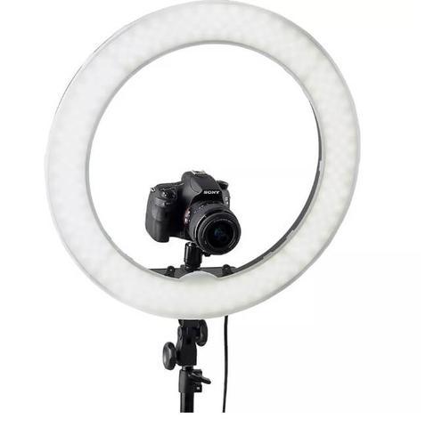 Imagem de Iluminador Ring Ligth Anel Luz 26cm Mak Fotos Com Tripé 1.60