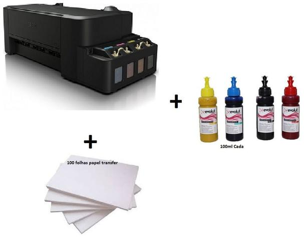 Imagem de Impressora Sublimatica Epson EcoTank L120 c/ 4 Refis de Tinta 100ml  + 100 Fls Papel Transfer