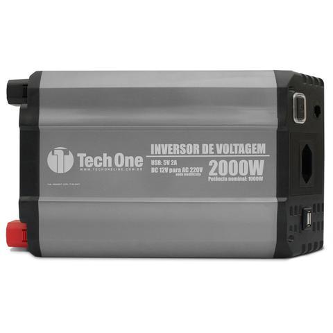 Imagem de Inversor de Voltagem Tech One 2000W 12V para 220V com USB Transformador Conversor de Potência