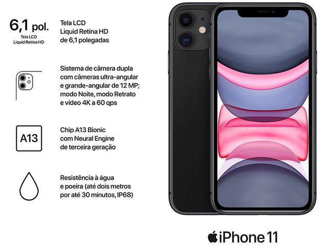 "Imagem de iPhone 11 Apple 64GB Preto 6,1"" 12MP iOS"