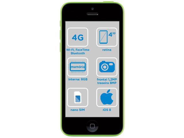 Imagem de iPhone 5c Apple 8GB 4G iOS 8 Tela 4 Wi-Fi