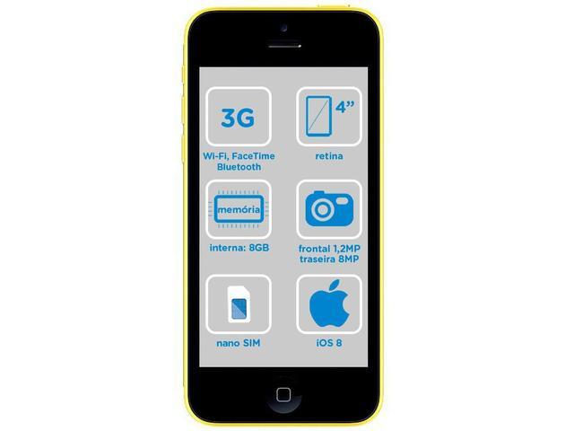 """Imagem de iPhone 5c Apple 8GB Amarelo 4G Tela 4"""" Retina"""
