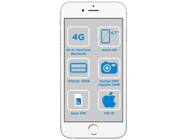 Imagem de iPhone 6s Apple 16GB Prata 4G Tela 4.7 Retina