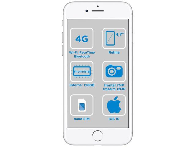 "Imagem de iPhone 7 Apple 128GB Prateado 4G Tela 4.7"" Retina"