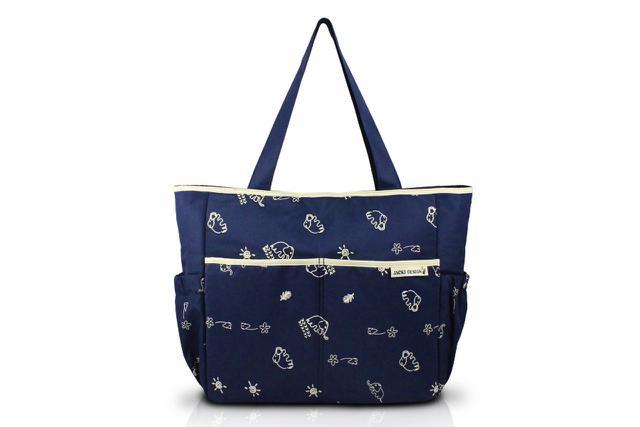 Imagem de Jacki Design Bolsa de Bebê Estampada  Cor Azul e Bege