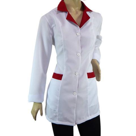 Imagem de Jaleco feminino Acinturado Branco/Vermelho
