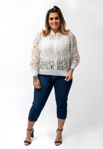 Imagem de Jaqueta Blusa Feminina Bomber Renda Branca Lycra Plus Size