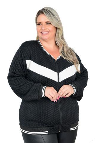 Imagem de Jaqueta De Frio Matelasse Moletom Feminina Plus Size G1 A G3 Preto