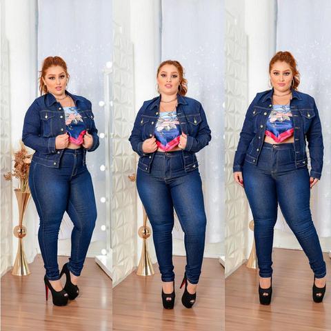 Imagem de Jaqueta Jeans Feminina Escura Plus Size