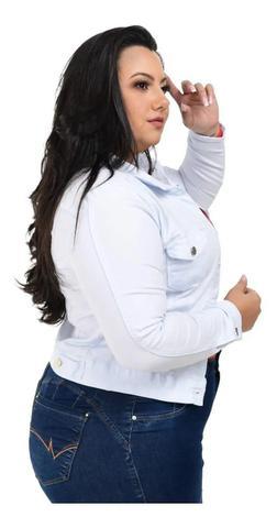 Imagem de Jaqueta Jeans Feminina Plus Size Branca Com Lycra