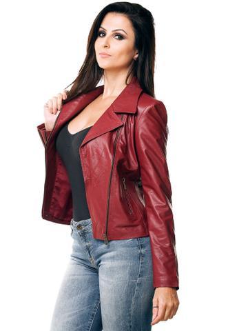 Imagem de Jaqueta Parra Couros feminina Motoqueira cor vermelho tamanho M