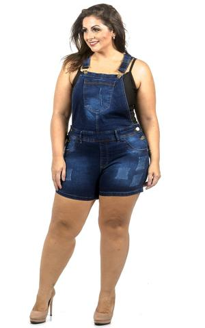 Imagem de Jardineira Jeans Destroyed Azul Plus Size