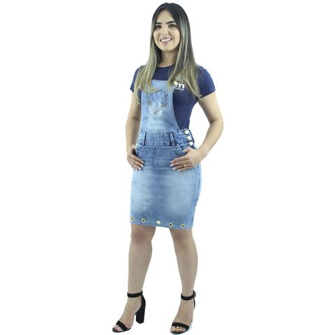 Imagem de Jardineira Jeans Feminina Azul Claro Ilhós Anagrom REF 4007