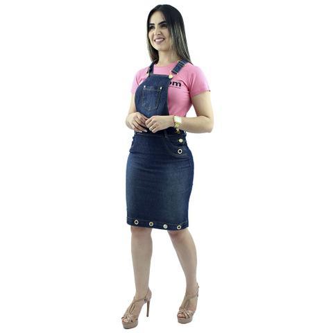 Imagem de Jardineira saia jeans com ilhós Anagrom  REF 4009