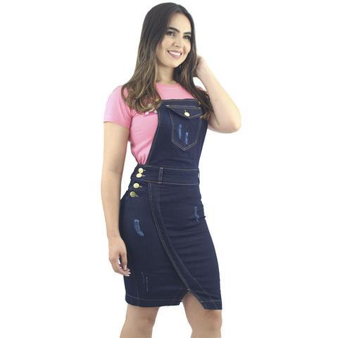 Imagem de Jardineira Salopete Jeans Azul Moda Evangélica Anagrom Ref.4013