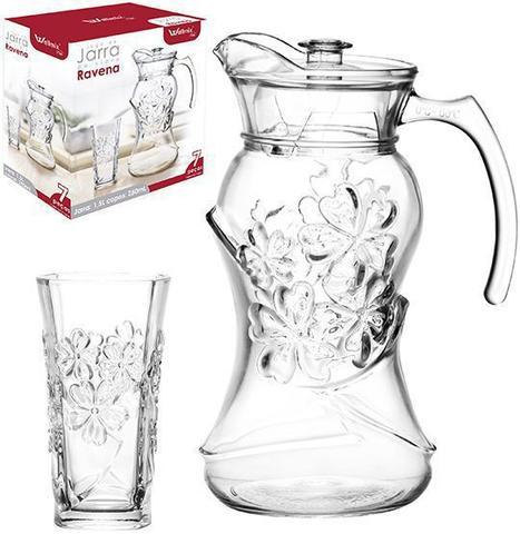 Imagem de Jarra de vidro ravena flor 1,5l com tampa de acrilico + 6 copos 250ml na caixa