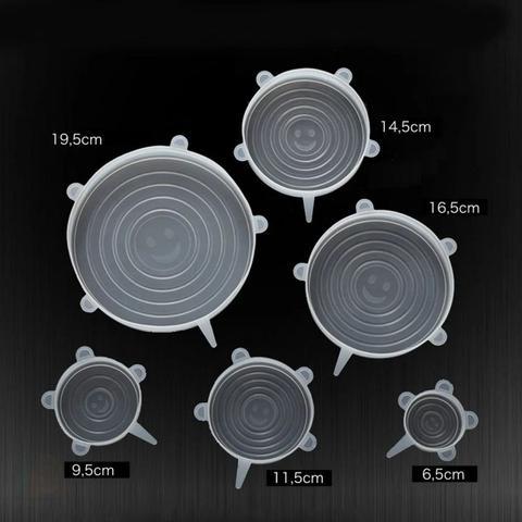 Imagem de Jogo 12 Tampas Pote Forma Panela Silicone Universal Elásticas