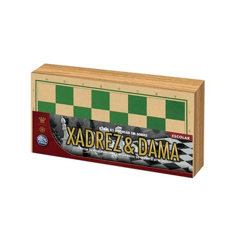 Imagem de Jogo 2 em 1 xadrez e dama de madeira com 56 pecas