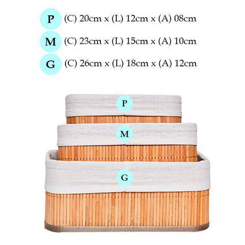 Imagem de Jogo 3 cestos de bambu organizadores para quarto closet banheiro cozinha lavanderia armário gaveta