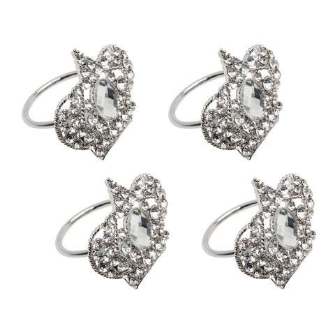 Imagem de Jogo 4 anéis para guardanapo em zamac prateado Crown Prestige - 26514